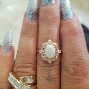 14k rose gold opal and diamond effy ring
